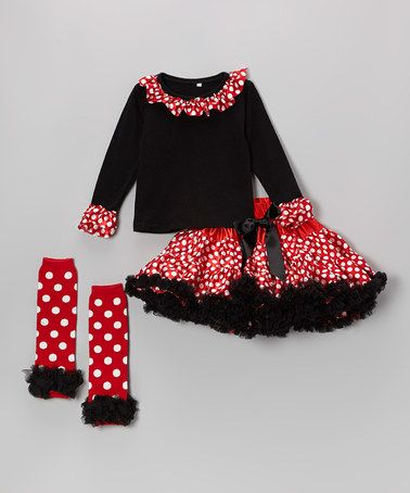 {Red Polka Dot Pettiskirt Set} Throw on a set of mouse ears for a Disney trip! #zulily #ad *Too cute