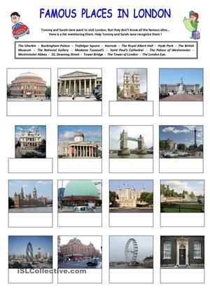 This document is made of 2 different parts.Part 1 consists in identifying the most famous places people can find in LodnonPart 2 consists in finding the right place corresponding to its definition.Easy activities for everyone ! :) - ESL worksheets