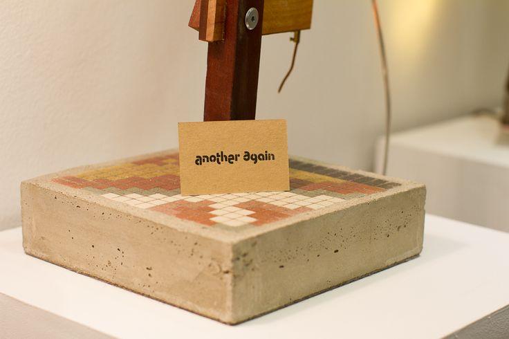 LT1 lamp concrete base with antique hydrolic floor tile