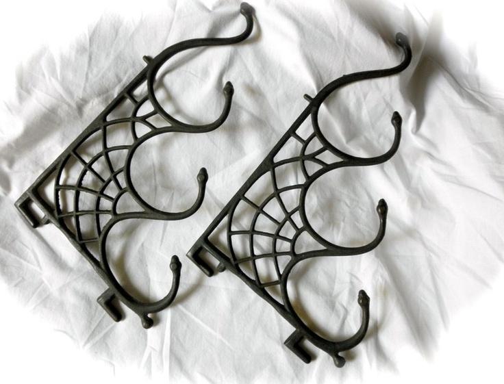 gothic pair vintage spider web cast iron brackets snake hooks