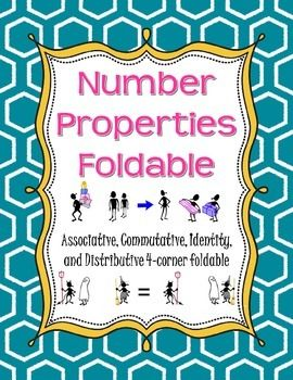 This four-corner foldable features the four number properties for addition and multiplication:  Associative Property, Commutative Property, Identity Property, and Distributive Property.The outside of the foldable contains the name of each property along with a pictures to help students remember what each property does.
