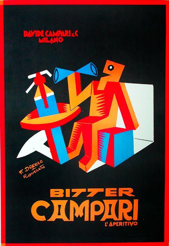 Vintage Italian Posters ~ #illustrator #Italian #posters - Fortunato Depero Campari ad