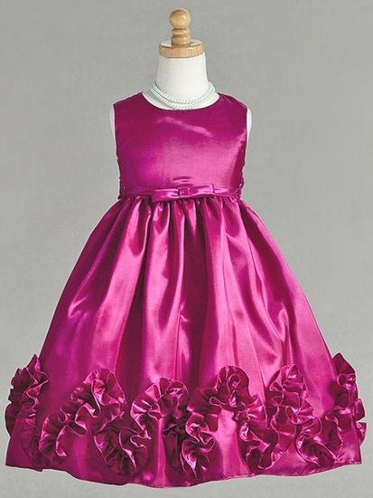 Fuchsia Gathered Taffeta Dress w/ Matching Waist Band