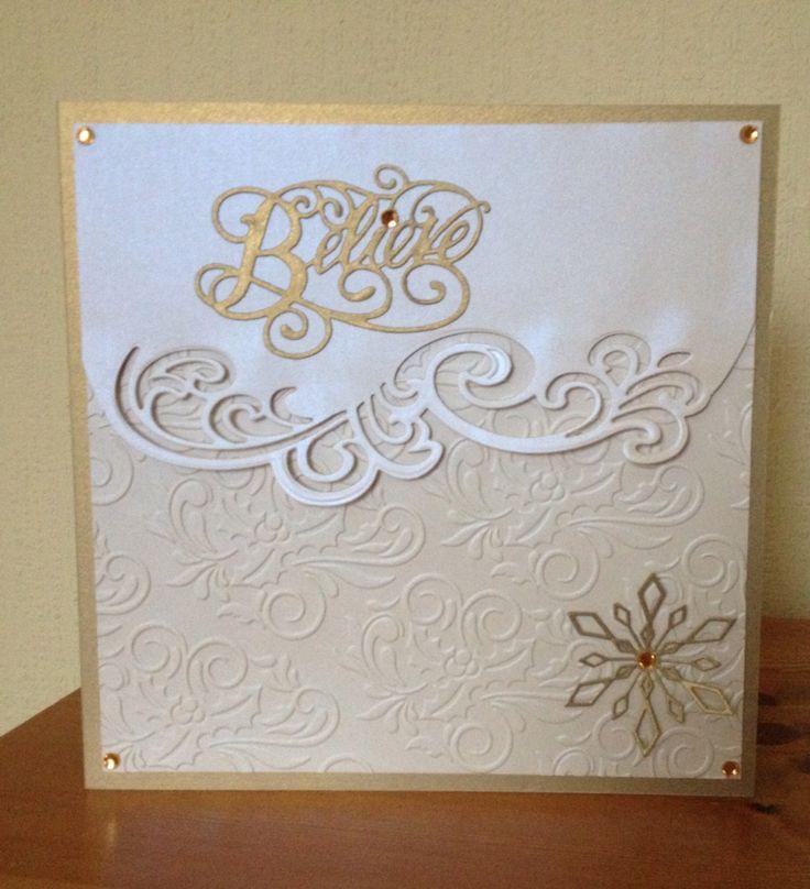 Christmas card made using Sue Wilson Believe die, Gemini Lyra die & Tattered Lace embossing folder.