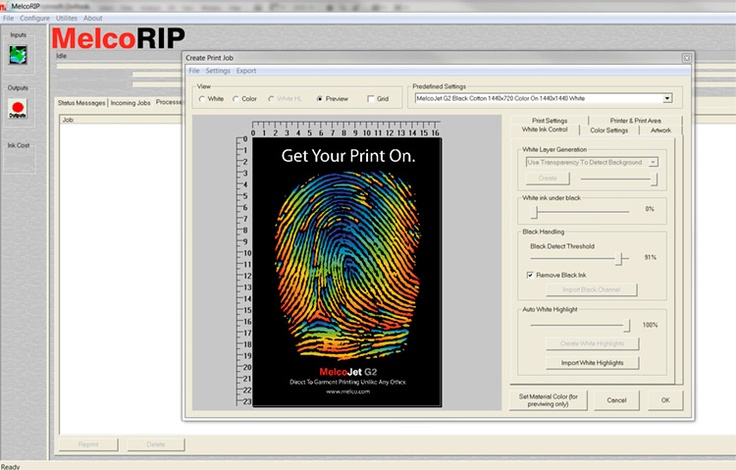 MelcoRIP Software | Melco    MelcoRIP Software    Powerful MelcoRIP Software  Developed specifically for MelcoInk.  Print directly from graphic software (Adobe, Corel, etc.)  Built-in cost calculator.  T-shirt templates included.