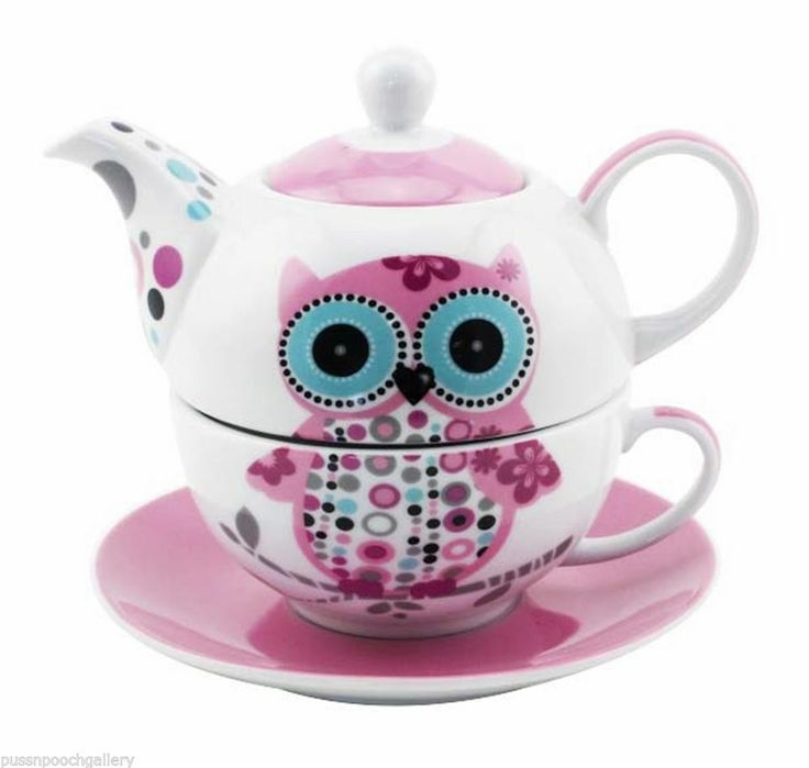Owl Tea for One- China Teapot & Cup & Saucer Set  Pink & White