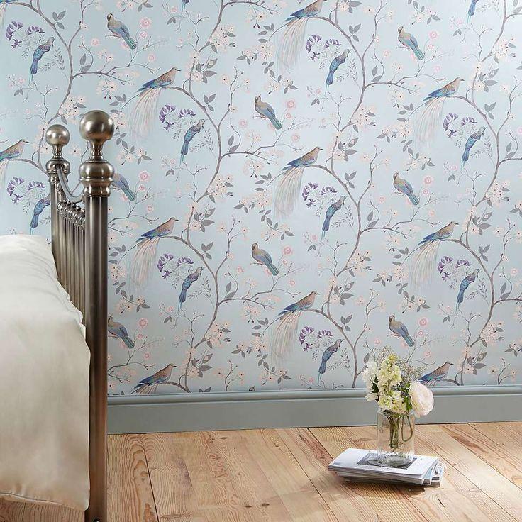Dorma Duck Egg Maiya Wallpaper Dunelm Bedroom