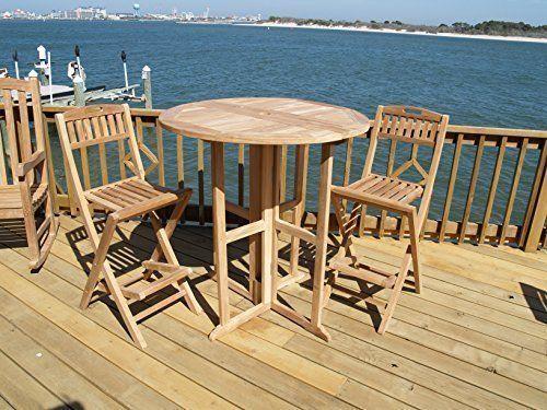 tortuga outdoor jakarta 3pc teak square bar table set grade a teak discounted teak patio furniture from home and patio decor center pinterest bar
