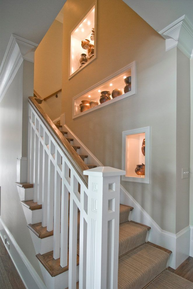 Decorating Wall Niche Ideas Staircase Traditional With Stair