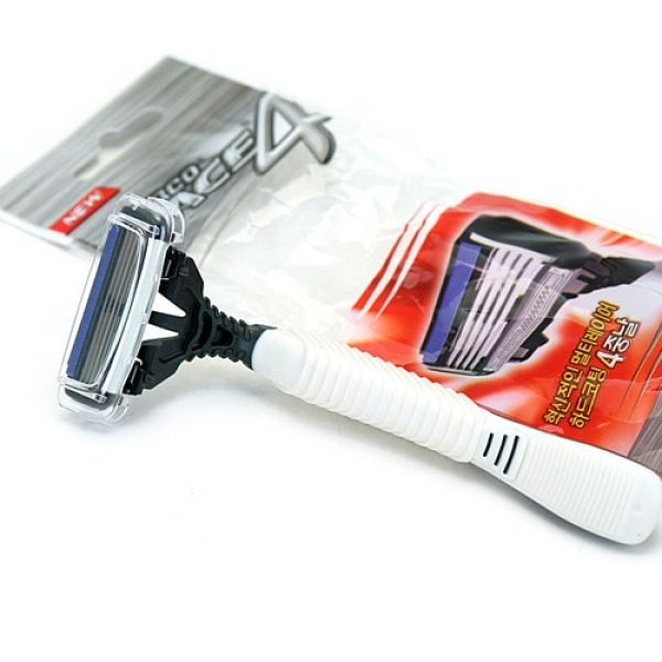 DORCO PACE4 Disposable Razor 4pcs, 4Blades Sensitive Skin Olive Open Cartridge #Dorco