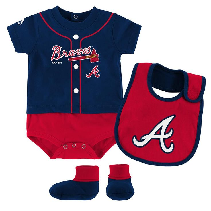 Your little Braves fan will be ready for fun in the sun in this sweet ball player themed set. The cotton knit fabric outfit features official team colors, screen printed official logos, and great looking sporty styling. Pieces include a Onesie with matching bib and booties. The Atlanta Braves creeper has snaps at the back of the neck as well as the legs for quick and easy changes between innings.