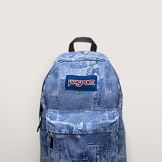 JanSport Denim Backpack Hand Painted by NosFashionGraphic on Etsy ...