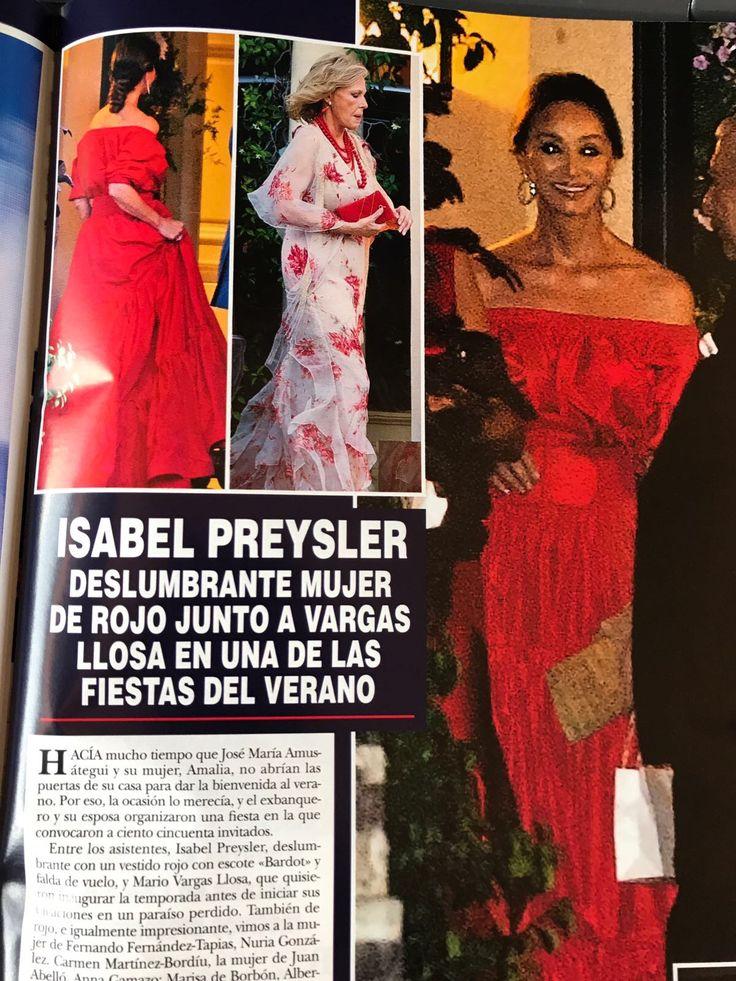 Isabel Preysler con vestido rojo palabra de honor de Tot-Hom en la revista HOLA - verano 2017#altacostura #style #estilo #famosas #telva #tothom #stilettos #modamujer #moda