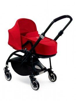 Bugaboo Bee3 komplett - Black Chassis, Sitz rot, Sonnendach rot, Liegewanne rot