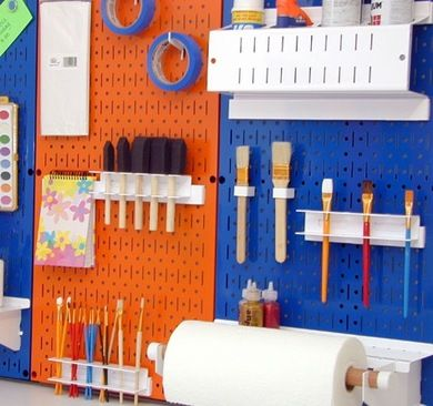 """""""Neat"""" Garage Storage Solutions  Take back your garage and keep clutter contained with these ingenious options for organizing. Ten times stronger than conventional pegboard, these sturdy steel panels accept standard pegs, hooks, and brackets to organize your tools. Choose from nine colors with a scratch- and rust-resistant finish. Available from WallControl.com, $45 for two 12"""" x 32"""" panels"""