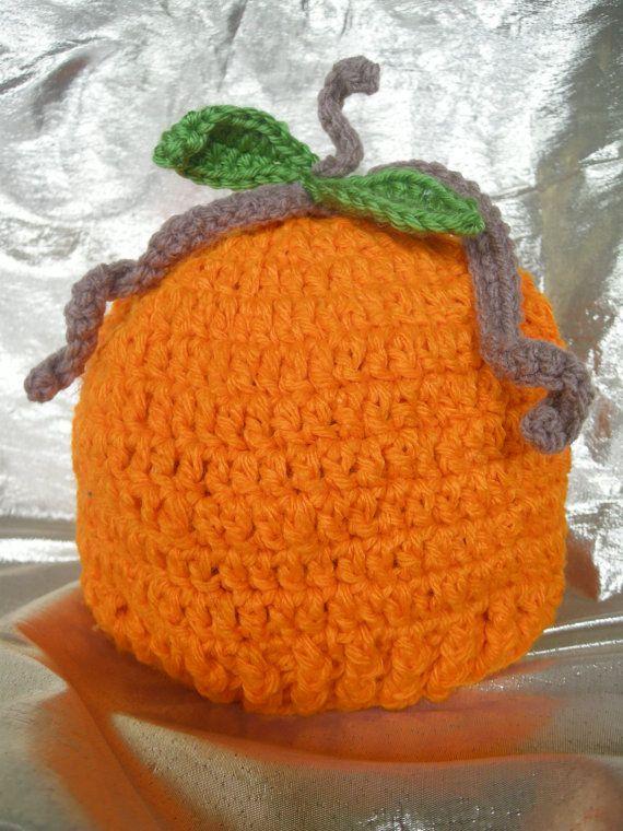Pumpkin Hat, Hat, Child hat, Baby hat, Crochet, Handmade by CelinaRoseDesigns on etsy, $15.00