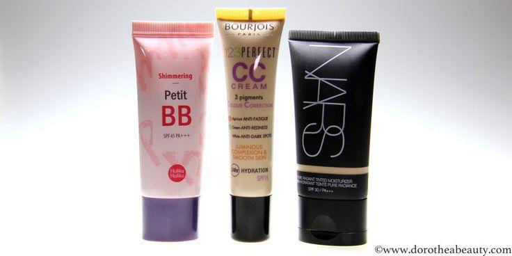 Holika Holika Shimmering Petit BB Cream, Bourjois Paris 123 Perfect CC Cream, NARS Pure Radiant Tinted Moisturizer Review