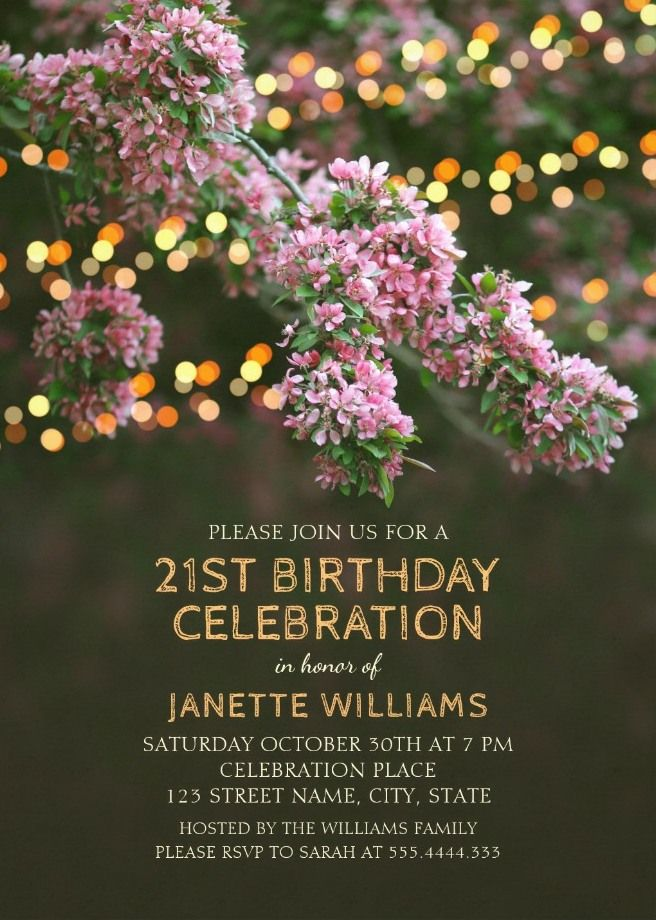 Garden Lights 21st Birthday Invitations - Tree Blossom Outdoor Party Custom Invites. Personalized for rustic outdoor birthdays. Beautiful templates!