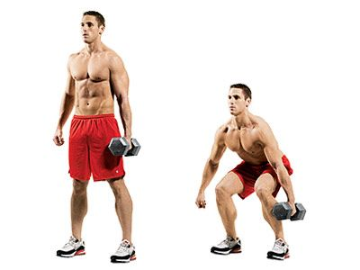 SUITCASE SQUATS  Hold a dumbbell in one hand at your side and squat as low as you can, as if you were putting down a suitcase. Perform 2 - 3 sets of 8 - 12 reps on each side, resting 60 - 90 seconds between sets.