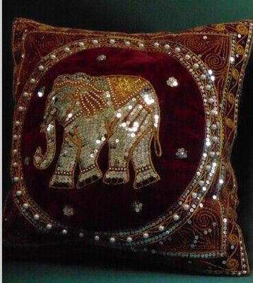 Spdny01, 42 * 42 см, Тайский слон подушка ручной работы блесток из бисера вышивка секционный диван обложка мягкий наряд ткань декоркупить в магазине Cushion TimesнаAliExpress