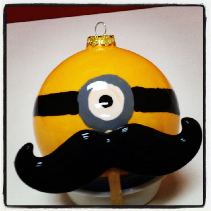 Minion ornament celebrating Movember!  www.crockadoodle.com