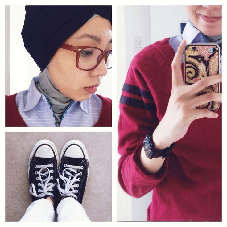#ootd hijab style : Shirt, jacket, jeans, converse, turban. #fien