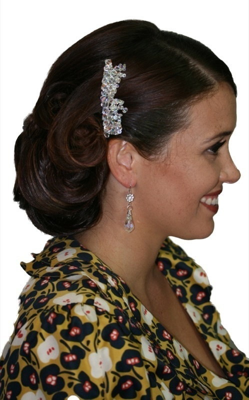 Handmade swarovski crystals hair comb/ hair piece. Perfect for bride wedding, bridesmaid or formal.  www.redki.com.au Hair by Ultimate Bridal, Hair piece and jewellery by Redki Wearable Art.