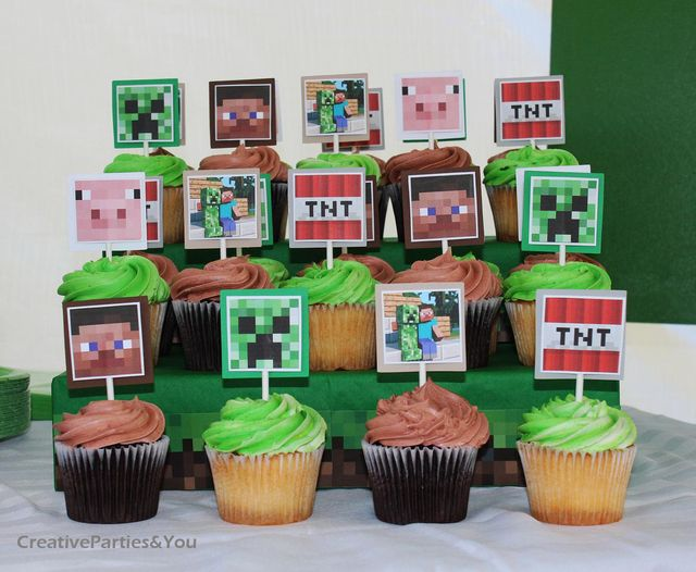 Minecraft Themed Birthday Party | CatchMyParty.com: Cupcake Toppers