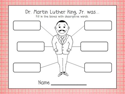MLK Center--after listening, reading, viewing about MLK and what he did, they will fill in squares at each station...