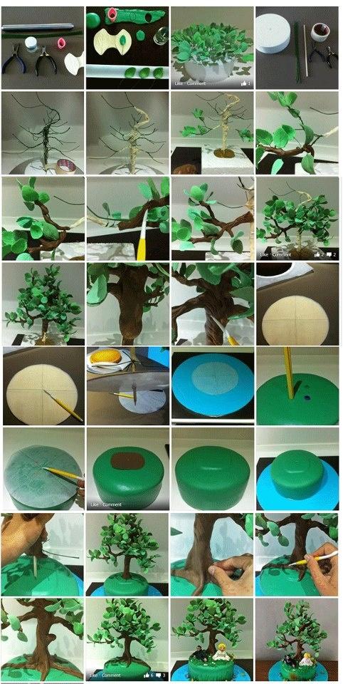 Tall slim tree. It is created by https://www.facebook.com/JoyliciousCakes.  https://www.facebook.com/media/set/?set=a.305867636183923.60716.243836229053731=1