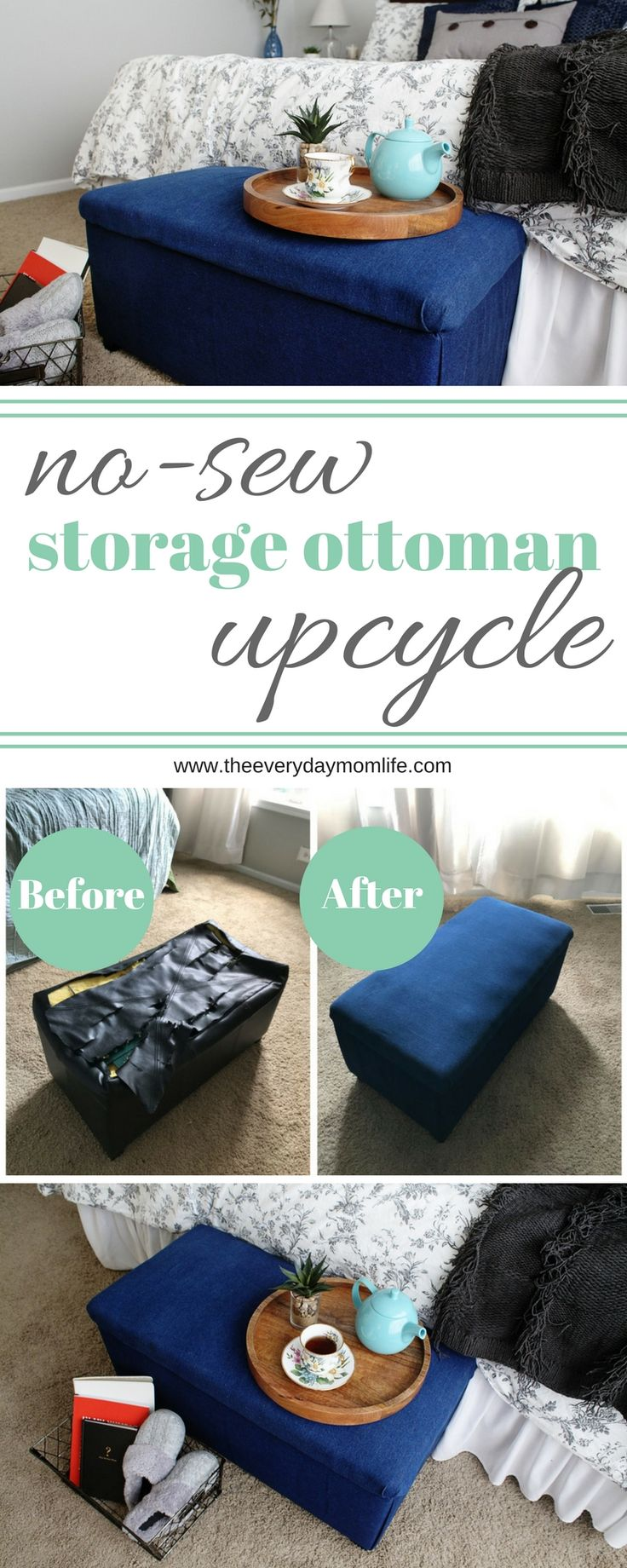 Have an old ottoman you need to recover? Check out this no-sew ottoman tutorial and upcycle your storage ottoman. No-Sew Storage Ottoman Upcycle.