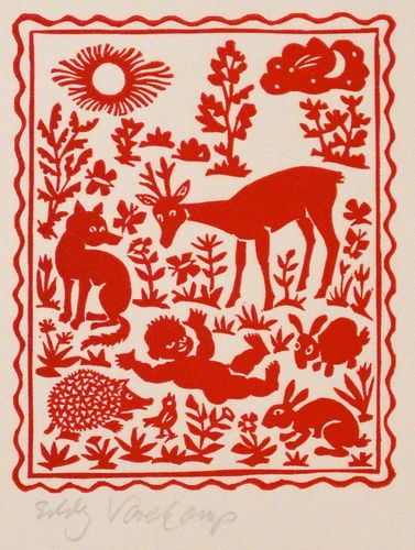 Baby with animals in the woods - Linocutprint