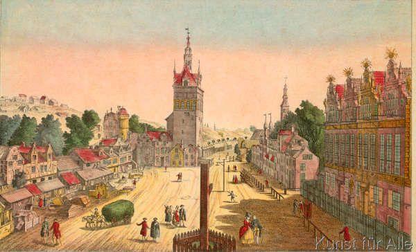 Balthasar+Friedrich+Leizel+-+Der+Domniks-Platz+in+Danzig,+oder+der+Markt-Plaz,+worauf+das+Zeug+und+das+Stokhaus+befindlich