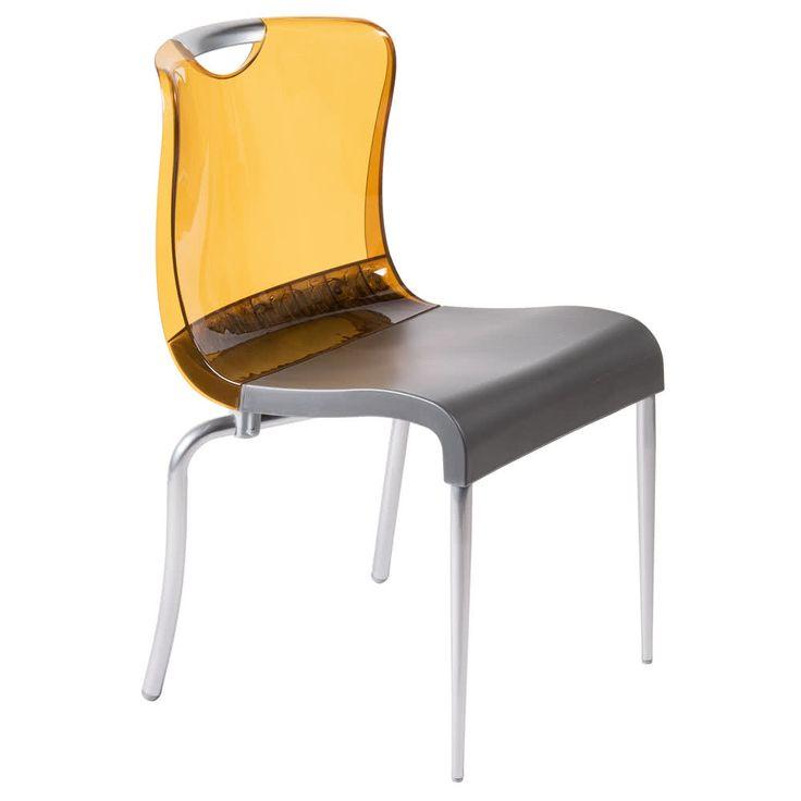 Grosfillex US228447 Krystal Amber Resin Indoor Stacking Chair - 4/Pack
