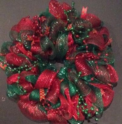 red and green mesh with a variety of ribbon