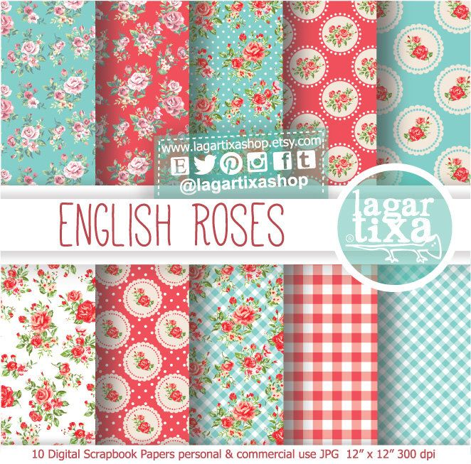 https://www.etsy.com/mx/listing/181148277/papel-digital-fondos-rosas-inglesas #shabbychic #roses #englishgarden #englishroses #vintage #floralprint #patterns #background