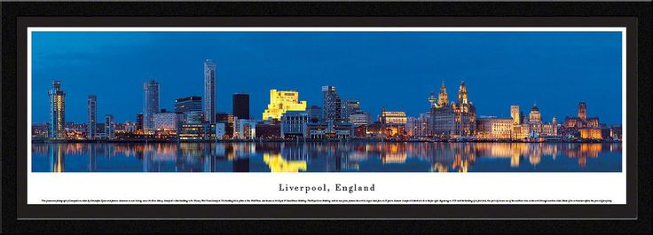 Liverpool Skyline Panoramic Picture Framed, England