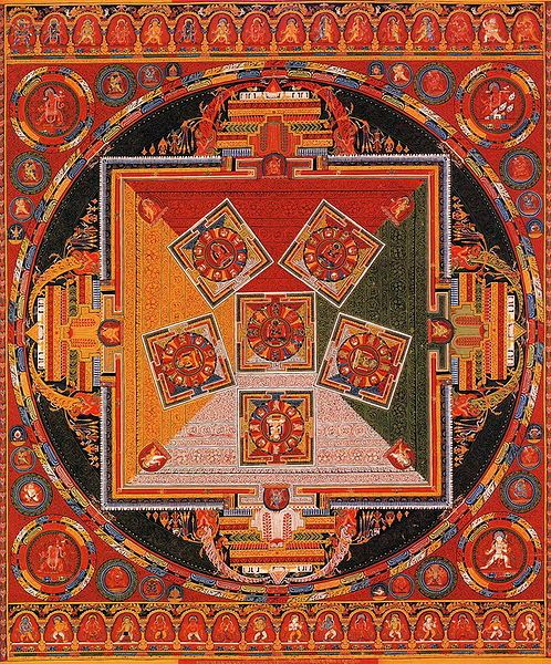 Tibetan Buddhist thangka painting of a mandala.19th century.