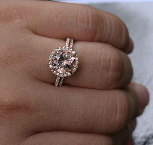 stunning morganite engagement ring wedding ring set in 14k rose gold with morganite round 9mm and diamond wedding band - Wedding And Engagement Ring Set