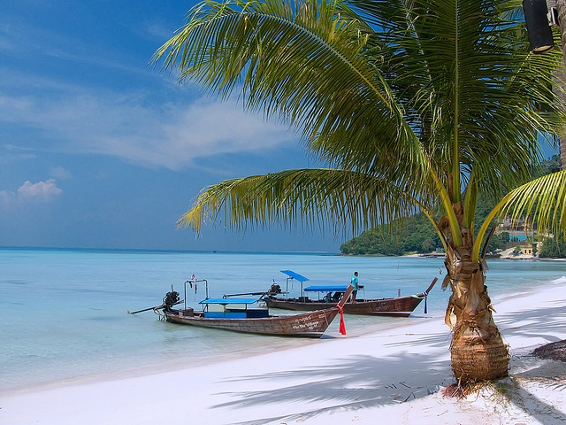 Pure Shores!    Gorgeous white sands, turquoise waters and perfect blue skies! Could you really ask for more? Taken at the private beach of the Phi Phi Island Village and Resort, Phi Phi Island. Absolutely has to be on your list of places to go before you die!