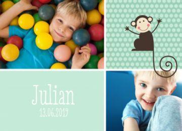 Verjaardagsuitnodiging met een aapje groene vlakken en stippen. Mogelijkheid om twee eigen foto's toe te voegen. Rechts boven staat een aapje getekend en links onderaan staat de datum en de naam.