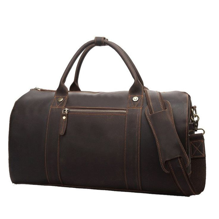 "ROCKCOW Leather Travel Bag For Men Weekend Bag Holdall Bag 8642 Model Number: 8642 Dimensions: 18.1""L x 9""W x 9.4""H / 46cm(L) x 23cm(W) x 24cm(H) Weight: 4.4lb"