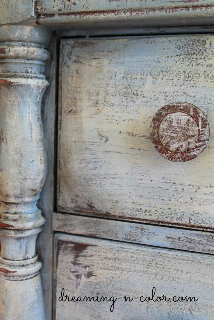 dreamingincolor: Layering Paint on a Dresser Love the old look of this paint!  painted it with three colors. Blue, yellow and white. It is heavily distressed also.