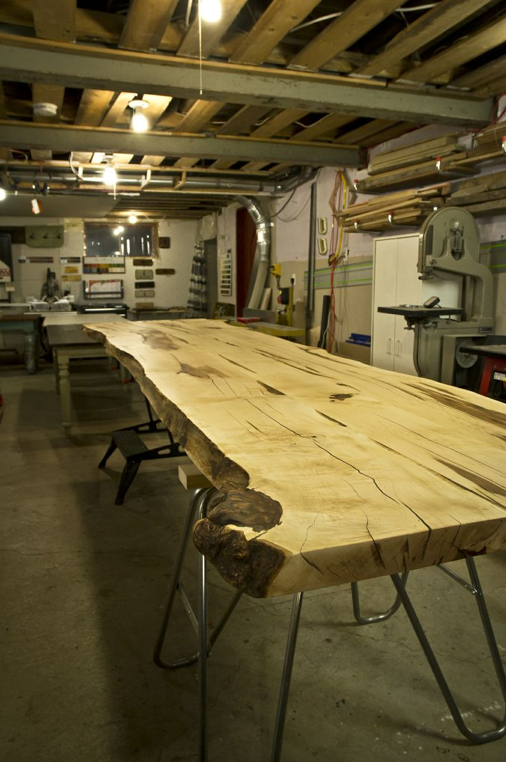 Table en rable num ro 8 pour la cabane pied de cochon martin picard finition - Pied en alu pour plan de travail ...