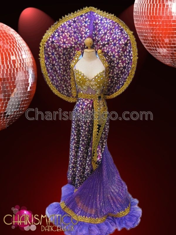 Charismatico Dancewear Store - CHARISMATICO Gold Accented Sheer Purple Leotard With Matching Purple Gown Set , $299.00 (http://www.charismatico-dancewear.com/charismatico-gold-accented-sheer-purple-leotard-with-matching-purple-gown-set/)