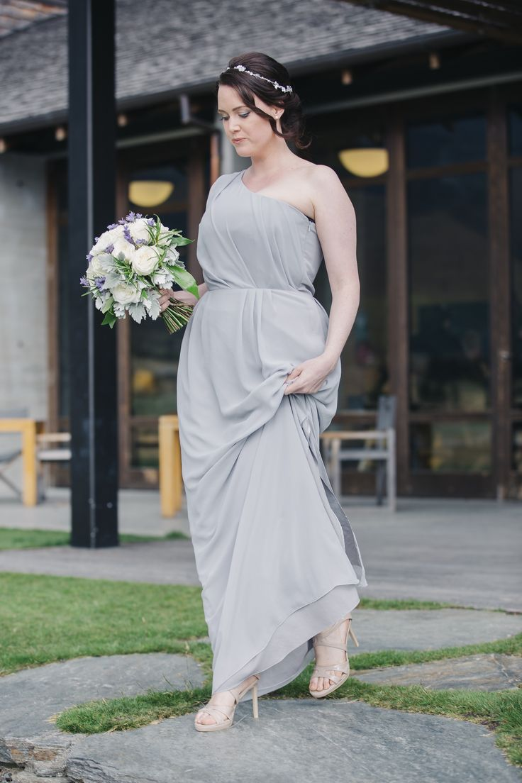 Stephie's bridesmaid Chloe is wearing the Natalie Chan 'Antique Goddess' gown