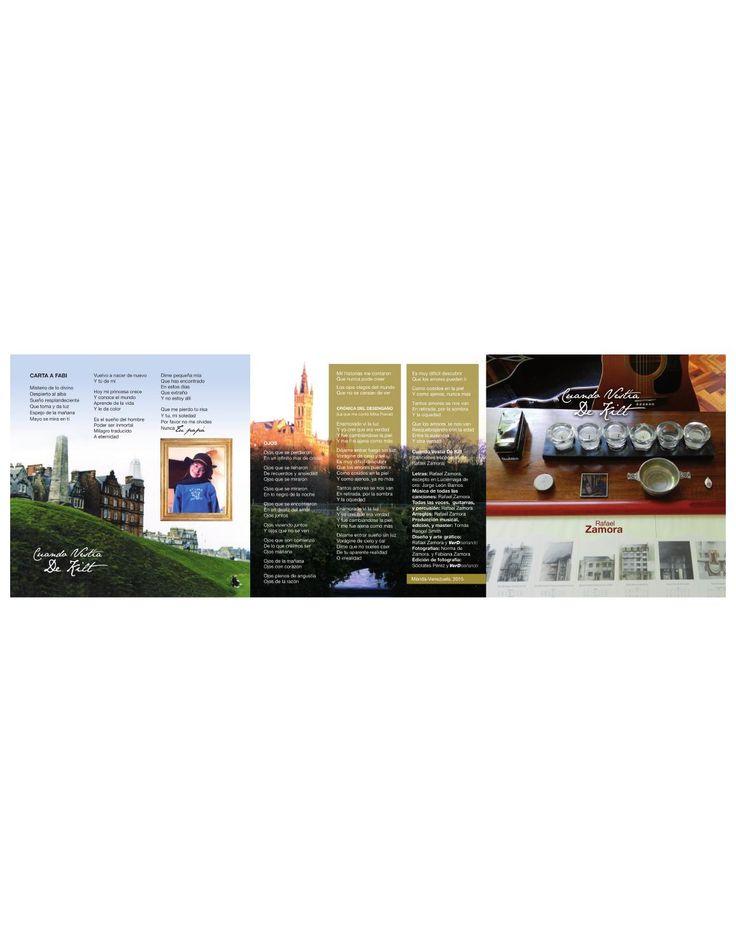 Cuando Vestía de Kilt 1  Parte del arte de la carátula de Cuando Vestía de Kilt, primer álbum de Rafael Zamora, cantaautor, roquero, poeta, músico, con el sino de todo eso.  Las canciones que componen este trabajo fueron gestadas en la ciudad de Glasgow, Escocia, cuando el artista reencuentra su alma en la orfebrería de sus canciones, que para entonces eran parte vacía, ausente de un espíritu perdido