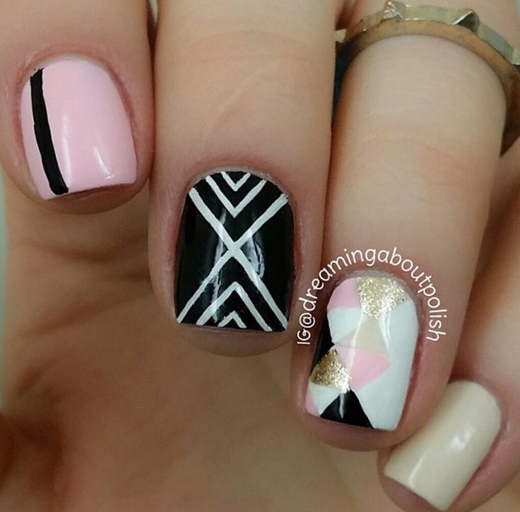 Pink and black and gold nails