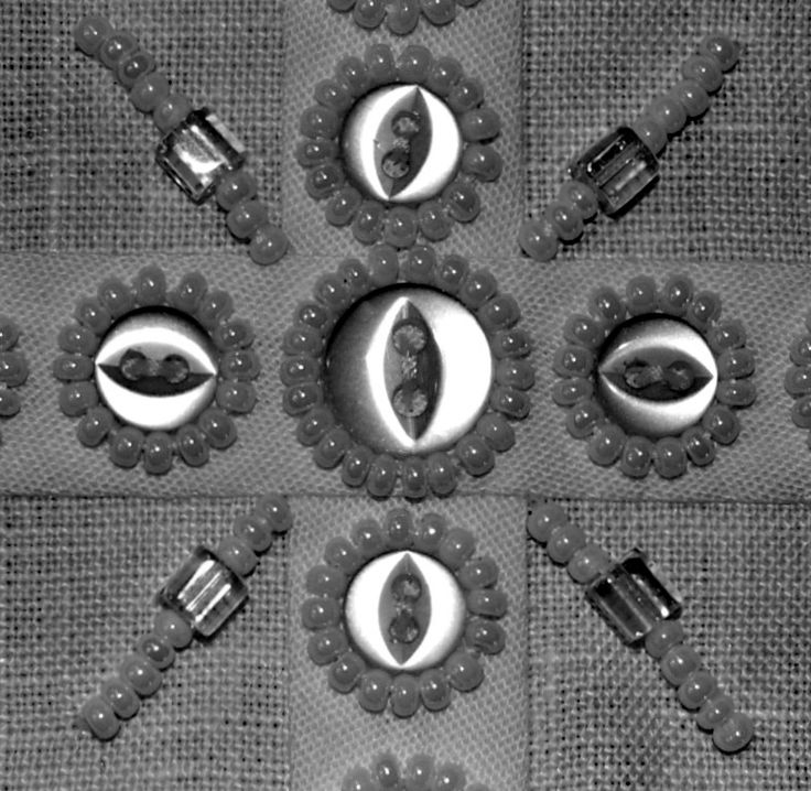 Button and bead chalice pall; high contrast photo detail; 4.20.17
