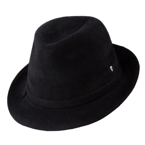 Women's Helen Kaminski Packable Fur Felt Fedora (£220) ❤ liked on Polyvore featuring accessories, hats, black, fur felt hat, fedora hat, felt hat, fur felt fedora and felt fedora